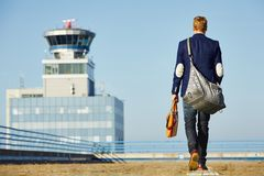 Handsome man at the airport Royalty Free Stock Image