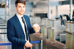Handsome man in the airport Stock Photo