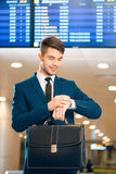 Handsome man in the airport Stock Image