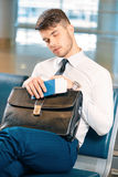Handsome man in the airport Royalty Free Stock Photography