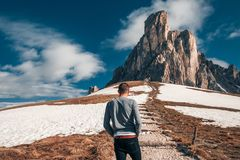 Handsome man amazing mountains background royalty free stock photos