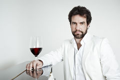 Free Handsome Man And A Glass Of Red Wine Stock Photography - 24805602