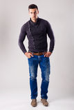 Handsome man - in the autumn-winter collection Stock Images