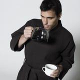 Handsome man in a bathrobe Stock Photography