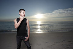 Handsome man at the beach Royalty Free Stock Photography