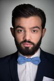 Handsome man with beard and bow tie looking at Stock Photo