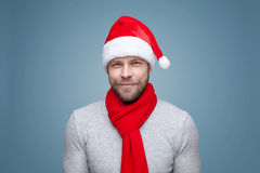 Handsome man with beard wearing a Christmas hat. Portrait of a handsome man with beard wearing a Christmas hat Stock Photography