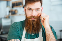 Handsome man with beard in white apron touching his moustache. Closeup portrait of handsome young man with beard in white apron touching his moustache stock image