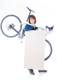Handsome man with bicycle and space for your text Royalty Free Stock Images