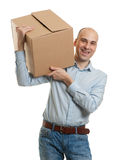 Handsome man with big box Royalty Free Stock Images