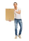 Handsome man with big box Royalty Free Stock Photo
