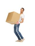 Handsome man with big box Stock Photos