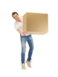 Handsome man with big box Stock Photography