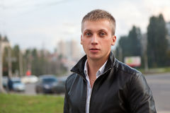 Handsome man in black jacket Royalty Free Stock Photography