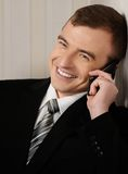 Handsome man in black suit Royalty Free Stock Image