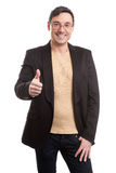 Handsome man in black suit and glasses smiling Royalty Free Stock Photo