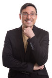 Handsome man in black suit and glasses thinking Royalty Free Stock Photography