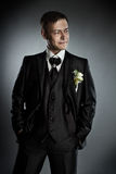 Handsome man in black suit. Grey background. Royalty Free Stock Photography
