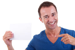 Handsome man, with blank  card Stock Photos