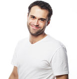 Handsome man in blank white shirt Royalty Free Stock Photography