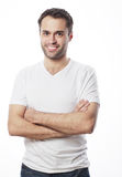 Handsome man in blank white shirt Stock Photography