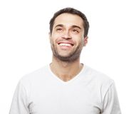 Handsome man in blank white shirt Royalty Free Stock Image