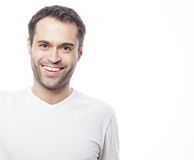 Handsome man in blank white shirt Royalty Free Stock Images