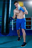 Handsome man in blue boxing gloves training on a punching bag in the gym. Male boxer doing workout. Stock Photography