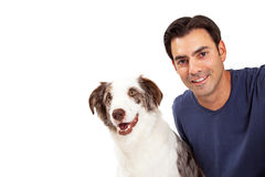 Handsome Man and Border Collie Dog Stock Photo