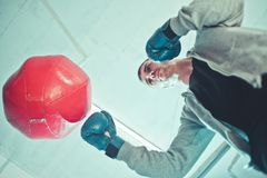 Handsome man boxer trains royalty free stock photos