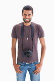 Handsome man with camera around his neck Royalty Free Stock Photo