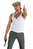 Handsome man in cap with a gun. On a white background Stock Photo