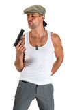 Handsome man in cap with a gun. On a white background Stock Photos