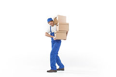 Handsome man carrying paper boxes Stock Image
