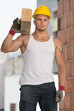 Handsome Man Carrying Wood Planks Stock Images