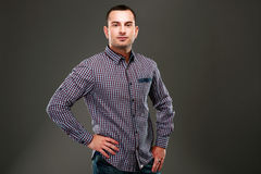 Handsome man in casual cloth standing Royalty Free Stock Photography