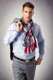 Handsome man in casual outfit. Young handsome man posing  in casual outfit Royalty Free Stock Photo