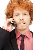 Handsome man with cell phone. Picture of handsome man with cell phone Royalty Free Stock Photography