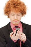 Handsome man with cell phone. Picture of handsome man with cell phone Stock Photo