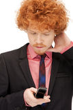 Handsome man with cell phone. Picture of handsome man with cell phone Stock Photography