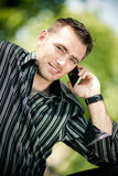 Handsome man with cellphone Royalty Free Stock Photo