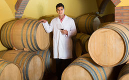 Handsome man checking ageing process of red wine Royalty Free Stock Photos
