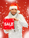 Handsome man in christmas hat Royalty Free Stock Photography