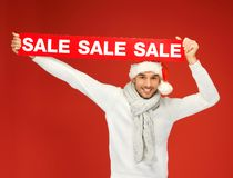 Handsome man in christmas hat Royalty Free Stock Photo