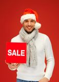 Handsome man in christmas hat Stock Photo