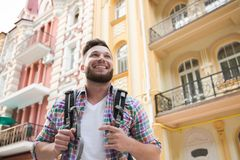 Handsome man in the city Stock Photography
