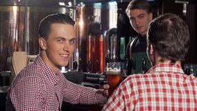 Handsome man clinking glasses with his friend, enjoying drinking beer with friend royalty free stock image