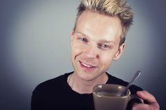 Handsome man coffee Royalty Free Stock Photos