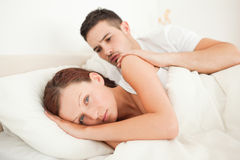 Handsome Man comforting his fiance Royalty Free Stock Photography