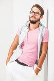 Handsome man. Confident handsome man wearing glasses, studio shot Royalty Free Stock Photos